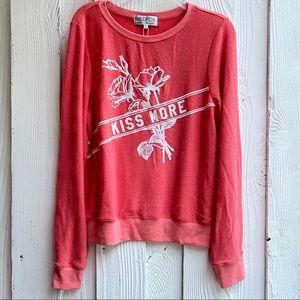 Wildfox Kiss More Pink Sweatshirt SZ S NWT